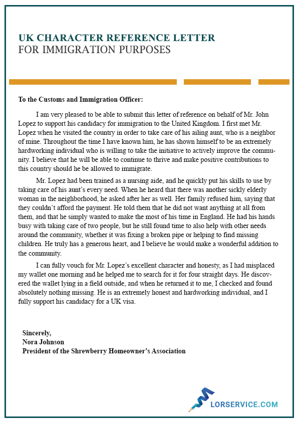 sample character reference letter for immigration purposes