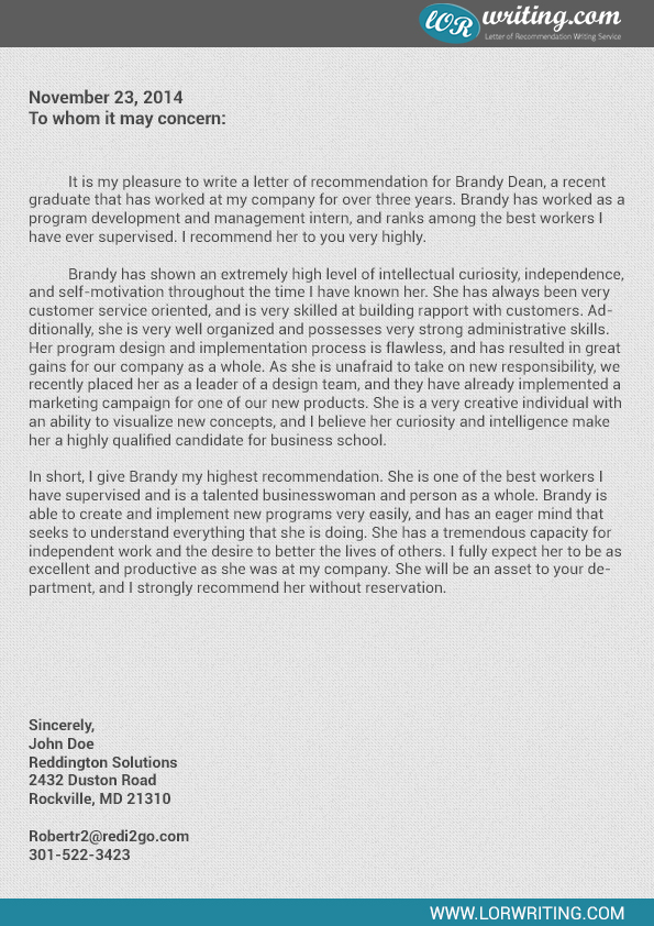 Professional Business School Recommendation Letter Sample - sample school recommendation letter