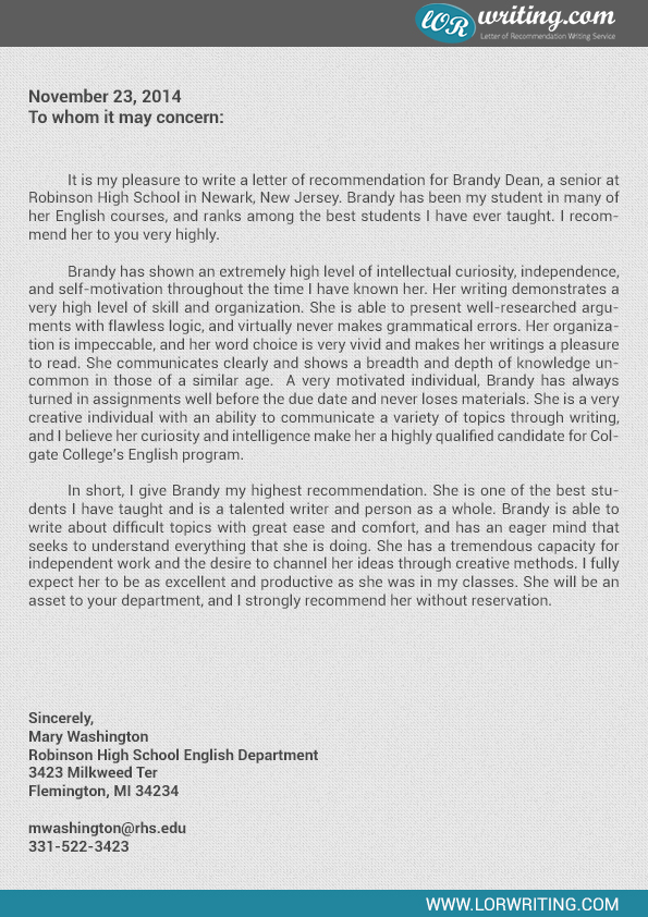 Professional College Recommendation Letter Template - college recommendation letter
