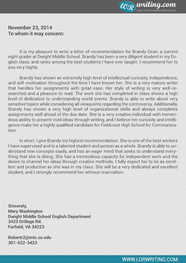 high school student recommendation letter main image high school - Letters Of Recommendation Samples