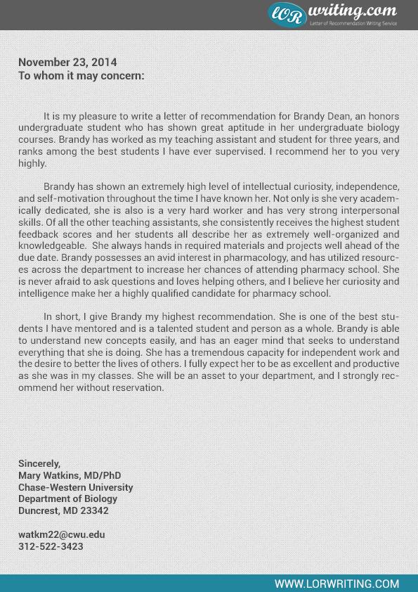 letter of recommendation pharmacy school sample