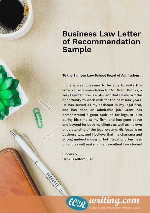 Professional Law School Letter of Recommendation Sample - letter of recommendation samples