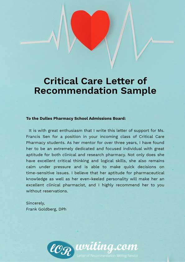 Sample Letter of Recommendation for Pharmacy School - pharmacy letter