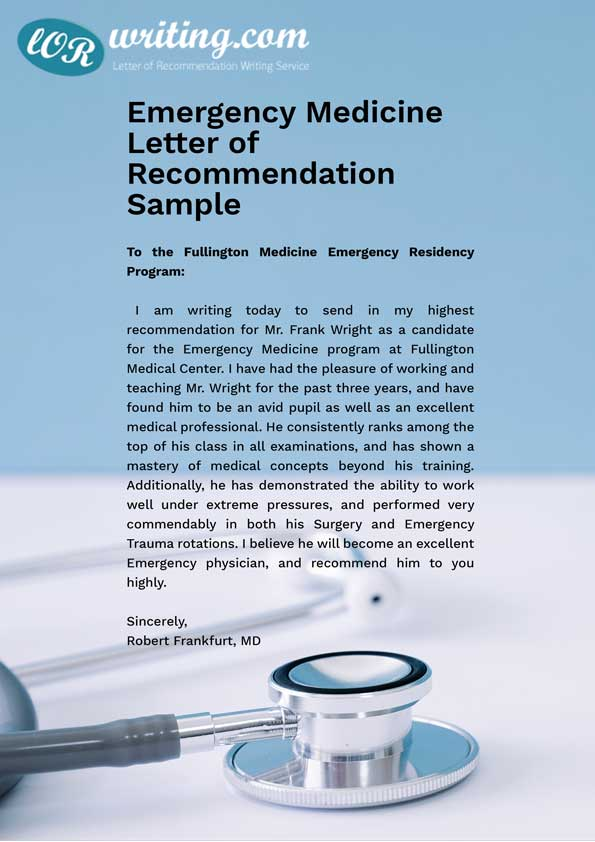 Professional Medical School Letter of Recommendation Sample - medical school recommendation letter