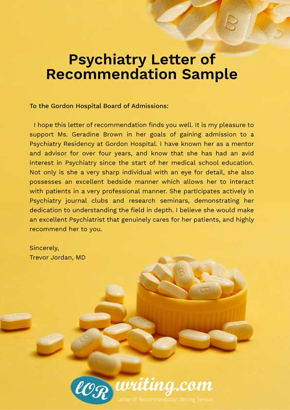 Professional Residency Letter of Recommendation Sample