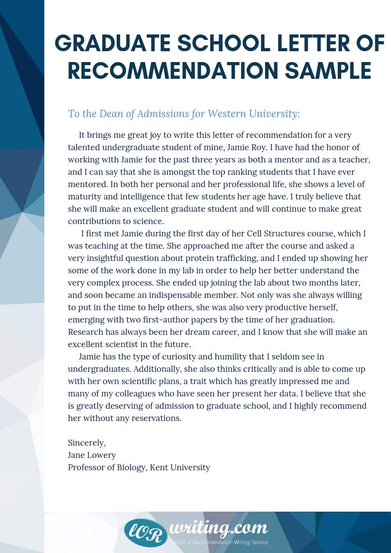 graduate school letter of recommendation sample
