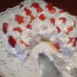 Probando la Tarta de merengue italiano con fresones