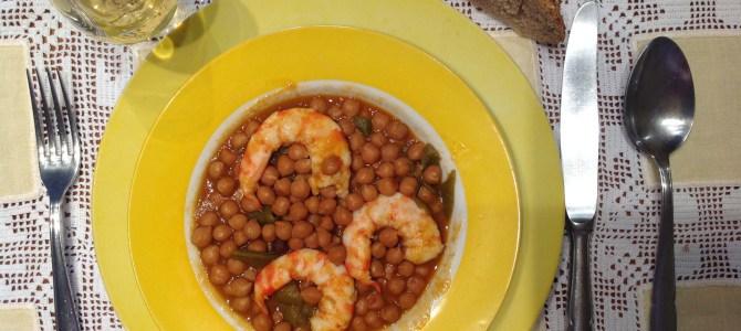 Receta: Garbanzos con langostinos de Sanlucar de Barrameda. La importancia de las legumbres