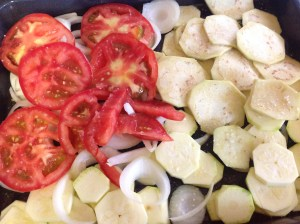 Verduras cortadas en rodajas