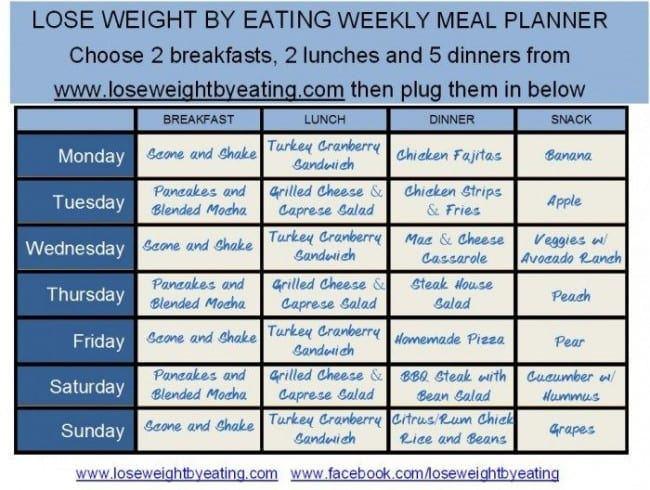 1200 Calorie Meal Plan for Fast Weight Loss Lose Weight by Eating - basic meal planner