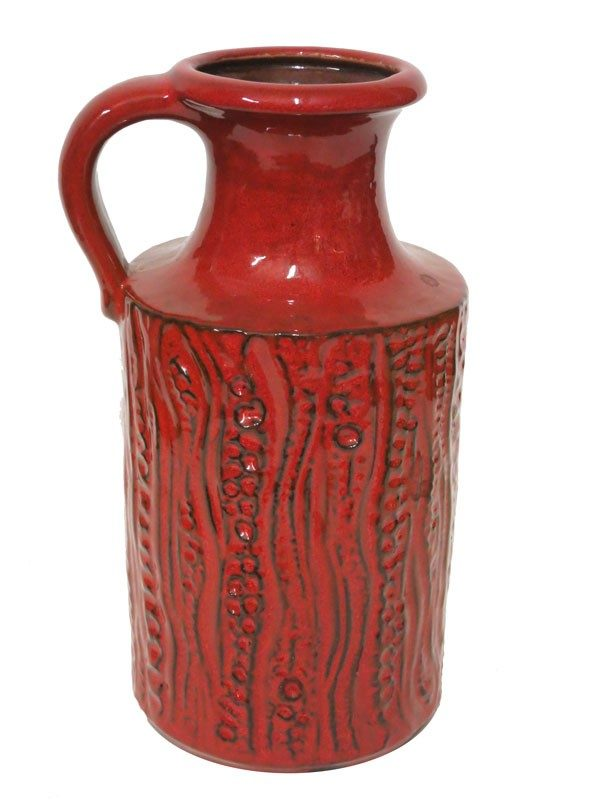 Red Ceramic Vintage Bubble Design with Handle - Lost and Found