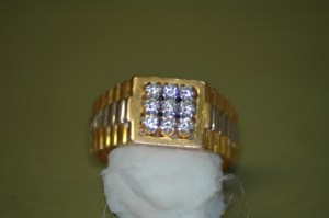 Mens 9 Diamond Gold Ring