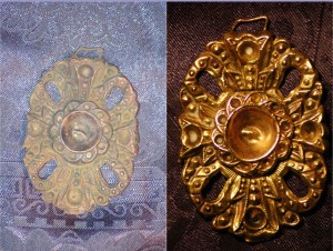Before After Cleaning - Victorian Belt Clasp - Ghost Town Find