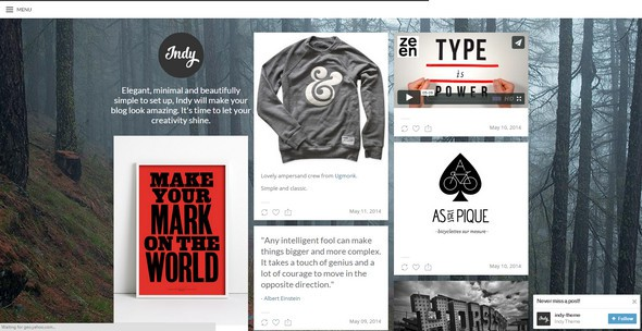 Indy best free tumblr theme