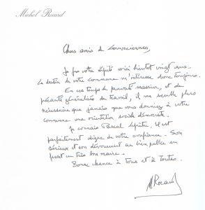 Lettre de Michel Rocard aux Louveciennois à l'occasion des élections municipales de 2008