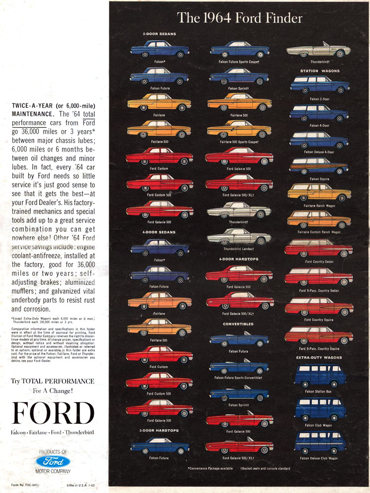12jpg 745×992 pixels 1964 Fords Ford car brochures - advertisement brochure