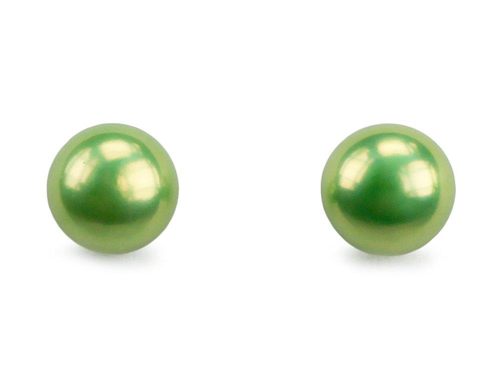 Apple Candy  Green Pearl Stud Earrings