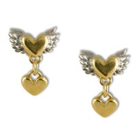 Chubby winged heart with heart drop earrings