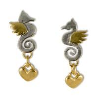 Seahorse & heart drop earrings