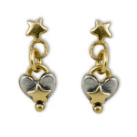Tiny star with heart drop earrings