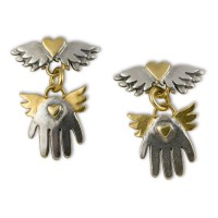 Winged heart & hand drop earrings