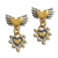 Winged heart with nobbly heart drop earring | Contemporary ...
