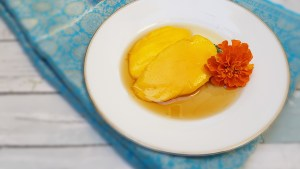 poached mango with marigold honey