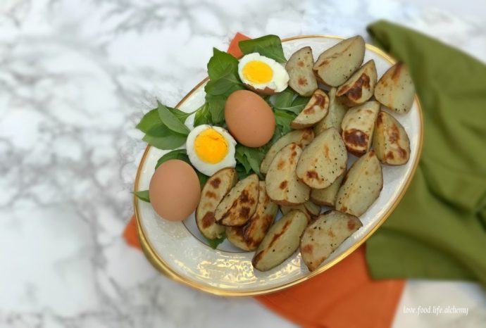 roasted potatoes and eggs