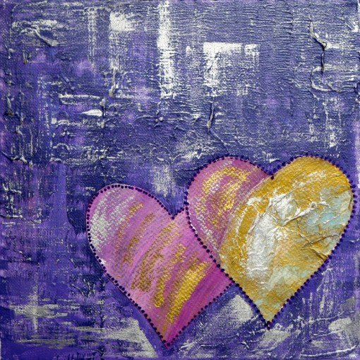 Purple Hearts Heart Art for Valentines Day