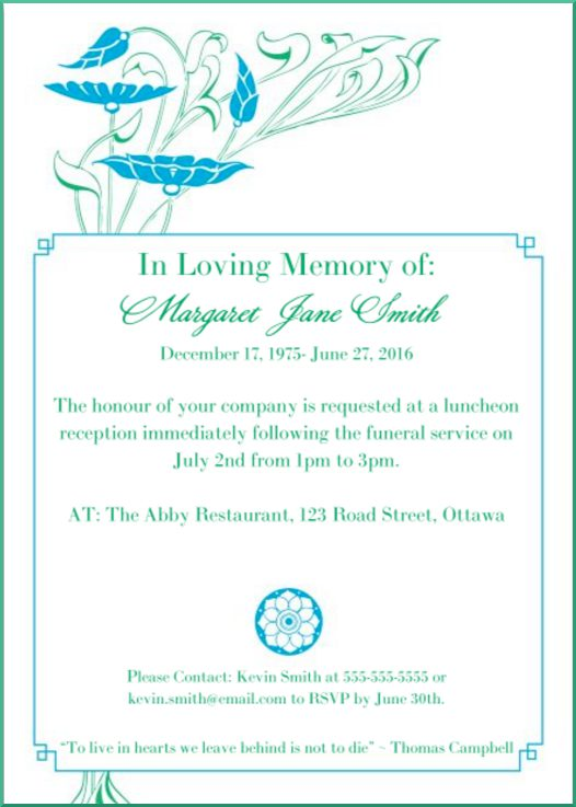 39 Best Funeral Reception Invitations Love Lives On - funeral announcement sample