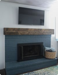 DIY rustic fireplace mantel: the cure for a boring ...