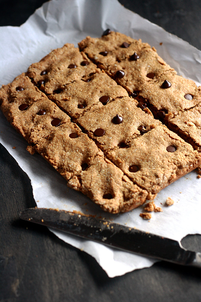 Vegan Chocolate Chip Almond Butter Cookie Bars   love me, feed me