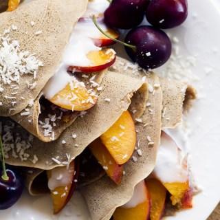 vegan almond nectarine gluten free crepes | love me, feed me
