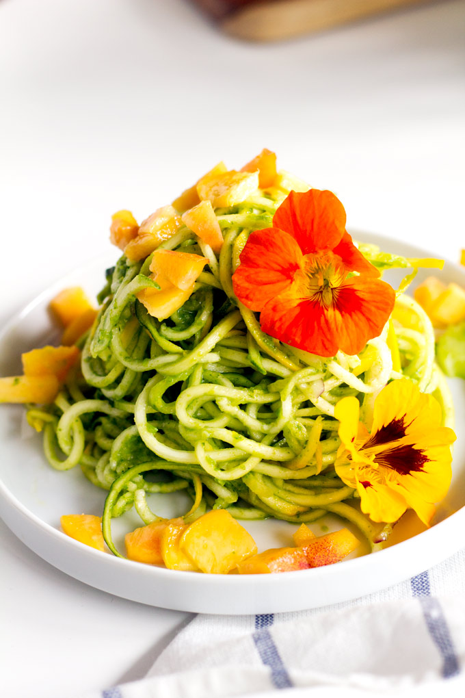 arugula pea pesto spiralized salad | love me, feed me