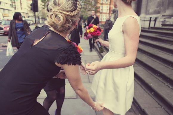 A Short Tulip Wedding Dress for a Winter Wedding in London…