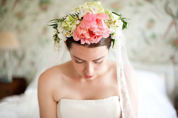 Floral Headpiece Goddess ~ A Caroline Castigliano Bride and Cornish Coastline Wedding…