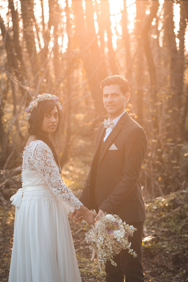 A 1970s, Bohemian Inspired Bride And Her Whimsical Woodland Wedding