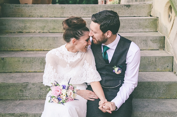 A Beautiful Caped Wedding Dress For A Vintage Inspired School Wedding