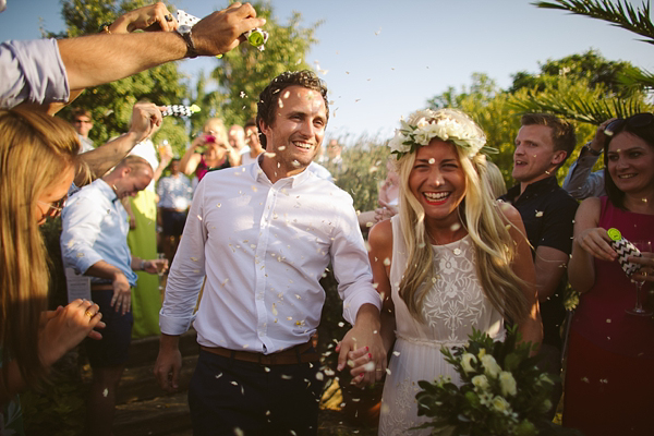 A Bougainvillea and Olive Leaf Floral Crown For a Fun And Colourful Spanish Fiesta Wedding