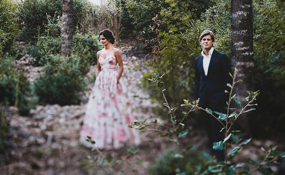 A Floral Wedding Gown For A Rustic Style, Summer Garden Party Feast in Italy