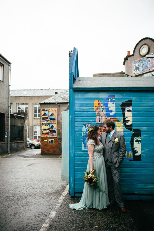 A Pale Green 40's Inspired Dress And Floral Crown For An Eclectic, DIY Edinburgh Wedding