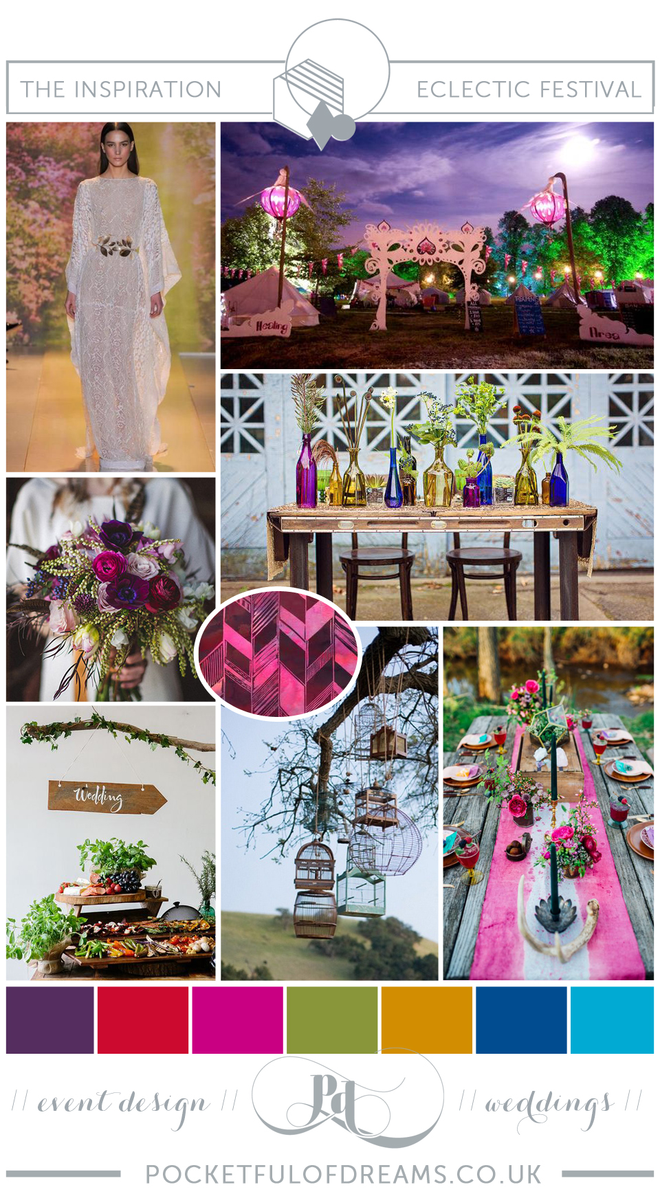 Bridal Inspiration Boards #75 ~ Eclectic Festival