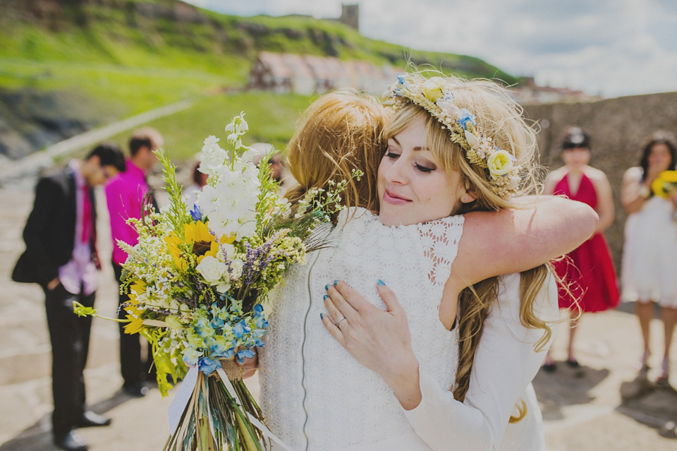 Sunflowers, Sunshine and Two Dresses For An Intimate Beach Wedding in Whitby (Weddings )