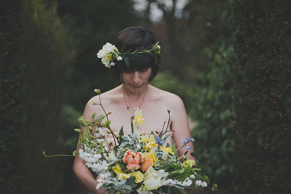 A Peach MaxMara Gown and Flower Circlet for an Intimate Spring Wedding in Scotland