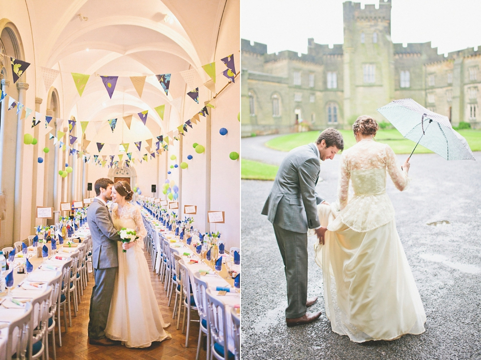 A 1980's Vintage/Heirloom Dress for a Rainy Day and Beautiful Castle Wedding