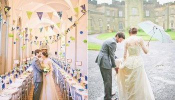 A 1980′s Vintage/Heirloom Dress for a Rainy Day and Beautiful Castle Wedding