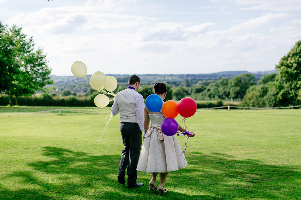 A 50's Inspired Polkadot Dress for A Quirky and Colourful Country Wedding