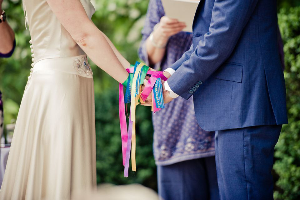 A Rainbow of Ribbons and a Touch of 30's Glamour for a Handfasting Wedding in the French Countryside