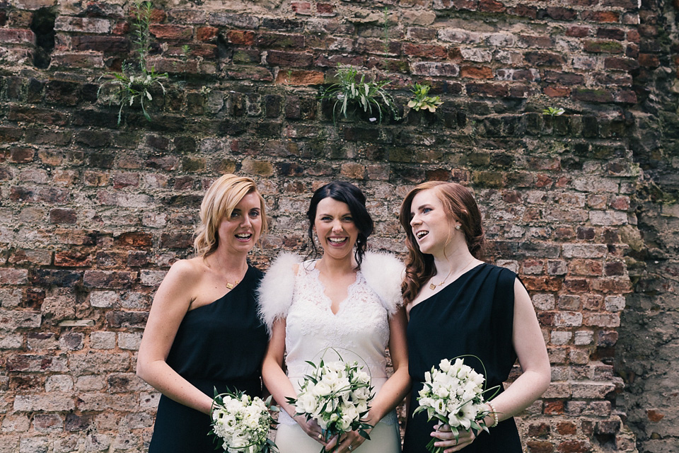 Bridesmaids in Black and a Badgley Mischka Bride for a Hip London Pub Wedding