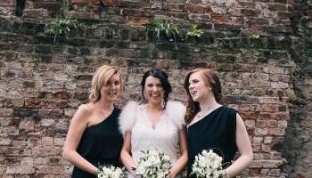 Bridesmaids in Black and a Badgley Mischka Bride for a Hip London Pub Wedding